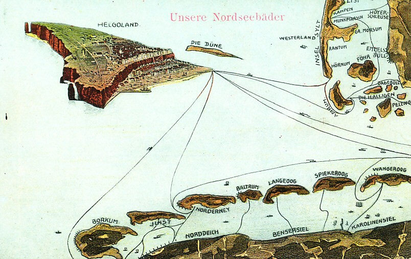 Map of ferry routes to North Sea spas on the German coast including Helgoland, Borkum, Juist, Nordeney, Amrum, Sylt, and others, labeled 'our North Sea spas'. Helgoland is shown as a relief map. The reverse is numbered (bottom left) 15293.